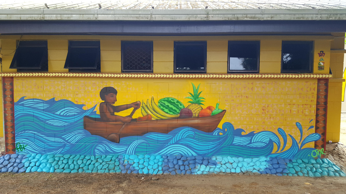 The canoe - Mural painted by youth from Fiji