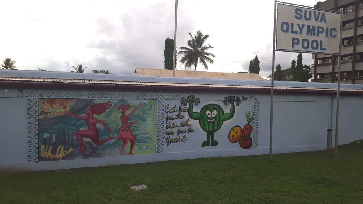 The dancer and vegetables - Mural painted by youth from Fiji